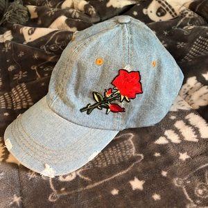 Denim baseball cap, rose patch